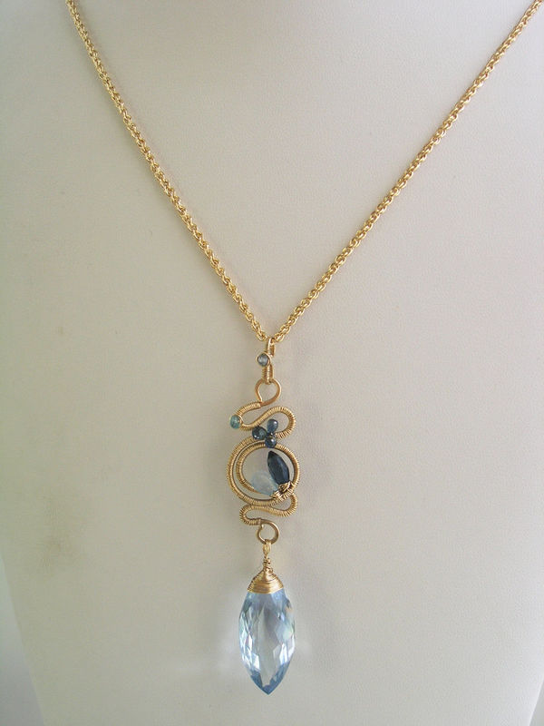 Blue Topaz 14k Gold Filled Sculptural Pendant, Blue Gemstone Necklace with Sapphires and Blue Quartz - product images  of