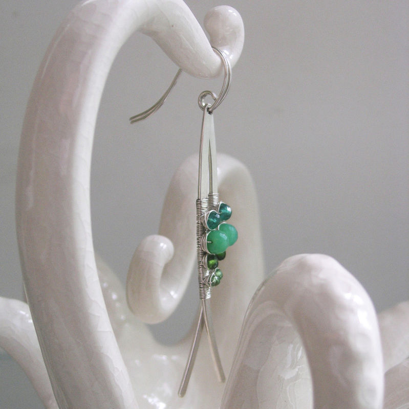 Chrysoprase Sterling Silver Linear Earrings, Long and Slender Curved Dangles with Emerald - product images  of
