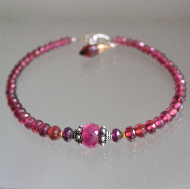 Red Garnet Beaded Bracelet, Pink Tourmaline and Mixed Metal Layering Bracelet - product images  of