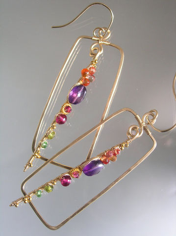 Multi,Gemstone,Rectangle,Earrings,,14k,Gold,Filled,Sculptural,Dangles,with,Amethyst,,Tourmaline,,Tsavorite,,Vesuvianite,,Tsavorite,Jewelry,Earrings,multi_gemstone,rectangle_earrings,gold_sculptural_stem,hand_wrought,sapphire_earrings,original_design,bellajewels,bella_jewels,sculptural_earrings,rectangular_earrings,gold_gem_earrings,unique_design,gemstone_earrings,14k gold fill,wire,g