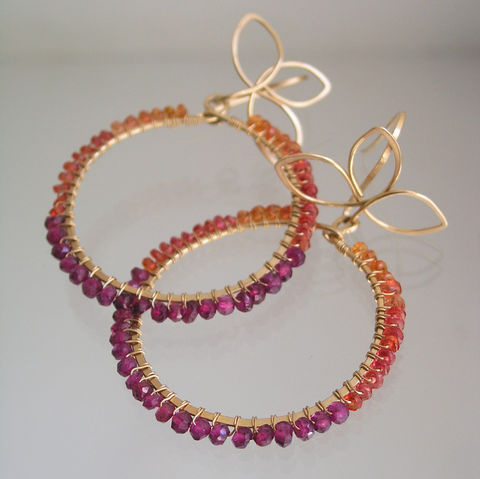 Gemstone,Hoops,,14k,Gold,Filled,Wire,Wrapped,Earrings,with,Orange,Sapphires,and,Magenta,Pink,Garnet,Jewelry,Gold_Filled_Branches,Color_Blocked,Original_Design,Sapphire_Hoops,Garnet_Hoops,Wire_Wrapped_Hoops,Gemstones_Earrings,Bellajewels,Orange_Magenta_hoops,tangerine_sapphire,gold_filled_petals,Magenta_Gold_hoops,14k_gold_filled,14k gold filled