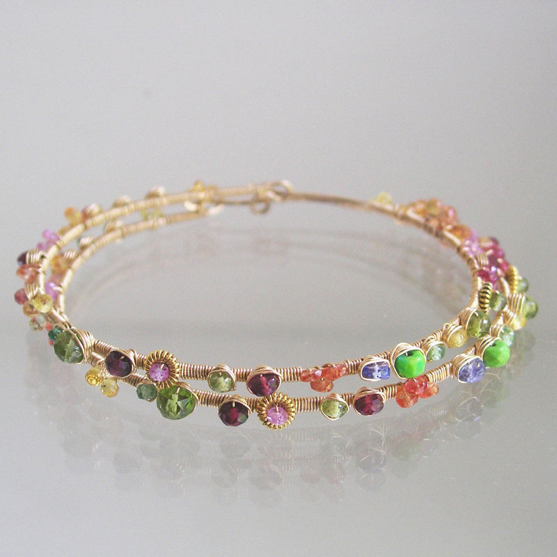 Rainbow Gemstone 14k Gold Filled Hoops, Sapphire, Spinel, Turquoise, Peridot, Tsavorite - product images  of