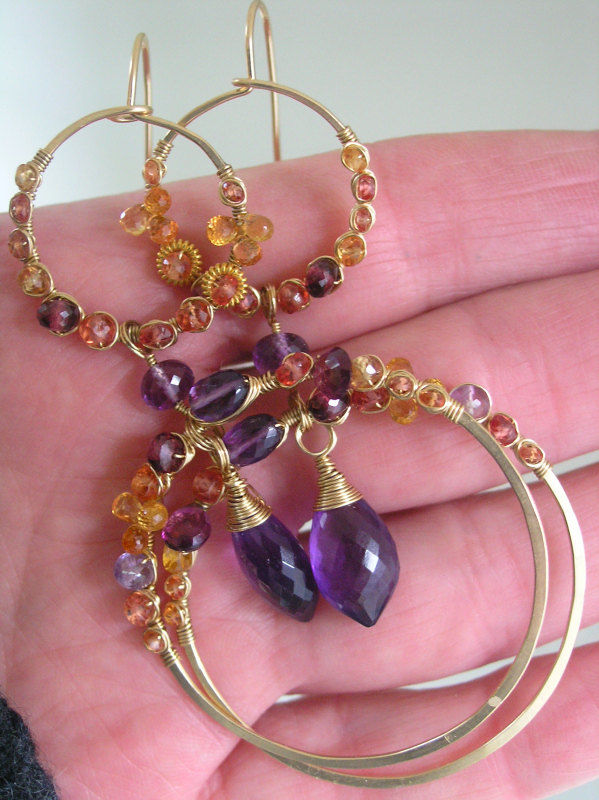 Sapphire Gold Filled Hoops, Double Hoop Earrings, Amethyst Chandelier Earrings, Wire Wrapped, Statement Hoops, Dramatic, Original Design - product images  of