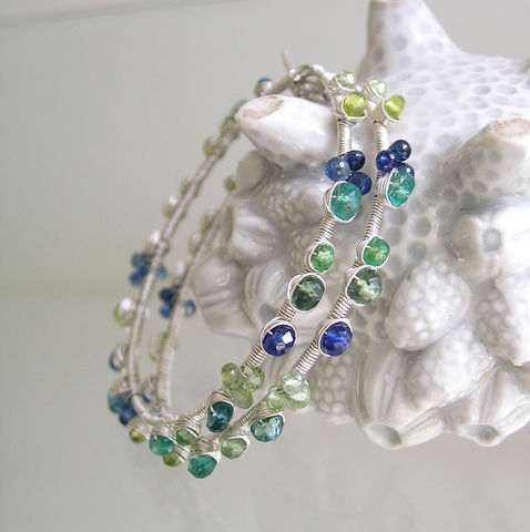 Blue,Green,Gemstone,Hoops,,Sterling,Wire,Wrapped,Earrings,,Kyanite,,Emerald,,Apatite,,Tourmaline,,Kyanite,Jewelry,Earrings,Sterling_Earrings,Kyanite_Hoops,Emerald_Hoops,Apatite_Hoops,Tourmaline_Hoops,Original_Design,Artist_Made_Hoops,Signature_Hoops,Blue_Green_Hoops,Gemstone_Hoops,Wire_Earrings,Wrapped_Earrings,Bellajewels,argentium sterling wire,gemstones,to
