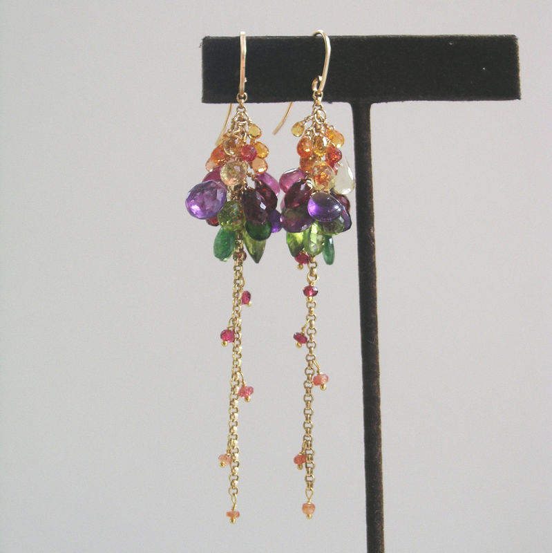 Rainbow Gemstone 14k Gold Filled Tassels, Long and Daring Earrings with Sapphire, Amethyst, Garnet, Peridot, Tsavorite - product images  of