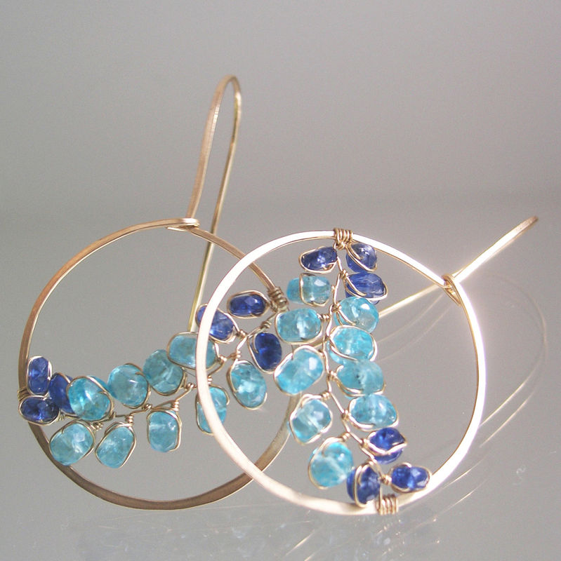 Ocean Gemstone Hoops, Turquoise Apatite Earrings, Cobalt Blue Kyanite Dangles, Wire Wrapped Vines - product images  of