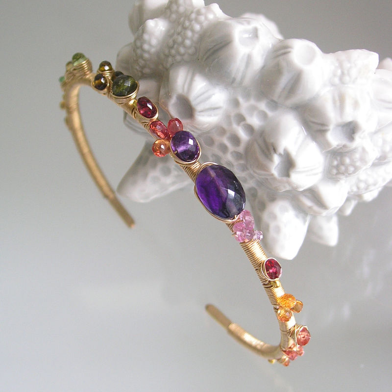 Gemstone 14k Gold Filled Cuff, Wire Wrapped Bracelet with Amethyst, Tsavorite, Tourmaline, Sapphires - product images  of