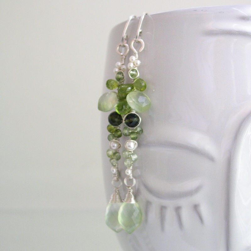 Moss Green Sterling Silver Linear Earrings with Prehnite, Pearls, Tourmaline - product images  of