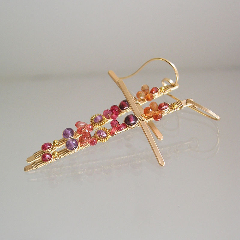 Gemstone 14k Gold Filled Cross Earrings, Crucifix Dangles with Sapphire, Amethyst, Garnet - product images  of