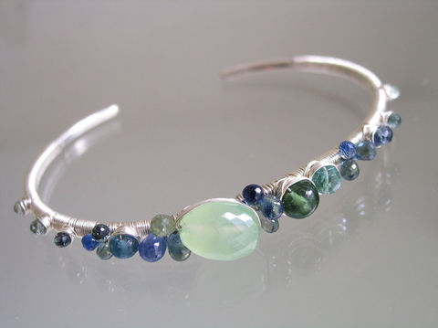 Blue,Sapphire,Wire,Wrapped,Sterling,Silver,Stackable,Cuff,with,Apatite,,Emerald,,Fluorite,,Tourmaline,,Jewelry,Bracelet,gemstone_cuff,blue_sapphire_cuff,sterling_stacking,argentium_cuff,ocean_hues,prehnite_bracelet,sea_gemstone_cuff,original_design,ocean_jewelry,bellajewels,stacking_cuff,sapphire_prehnite,beachy_summer_cuff,argentium silver wire,gemstones