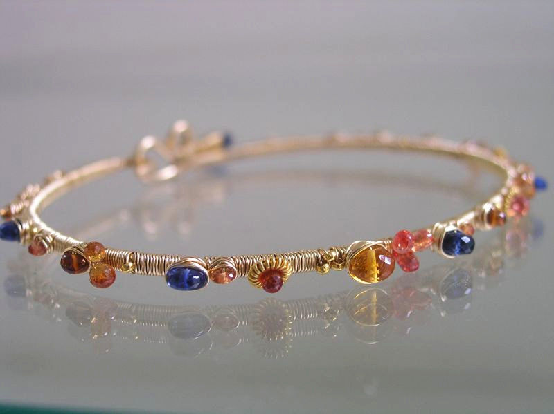Sapphire and Kyanite 14k Gold Filled Bangle, Blue and Orange Gemstone Wire Wrapped Bangle  - product images  of