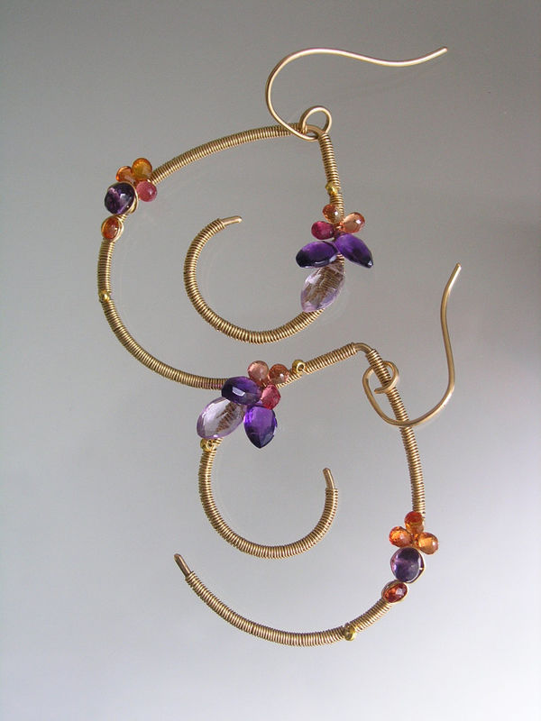 Amethyst 14k Gold Filled Mod Sculptural Earrings with Amethyst, Sapphires - product images  of
