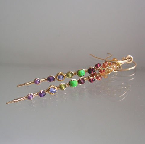 Multi,Gemstone,14k,Gold,Filled,Linear,Earrings,with,Green,Turquoise,,Sapphire,,Tanzanite,,Amethyst,Jewelry,Multi_Gemstone,Long_Linear,Linear_Stems,Green_Turquoise,Sapphire_Dangles,Tanzanite_Stems,Amethyst_Stems,Original_Design,Signature,Bellajewels,14k_Gold_Filled,Garnet_Earrings,Linear_Earrings,14k gold filled wire,gemstones,sapphire,spinel,t
