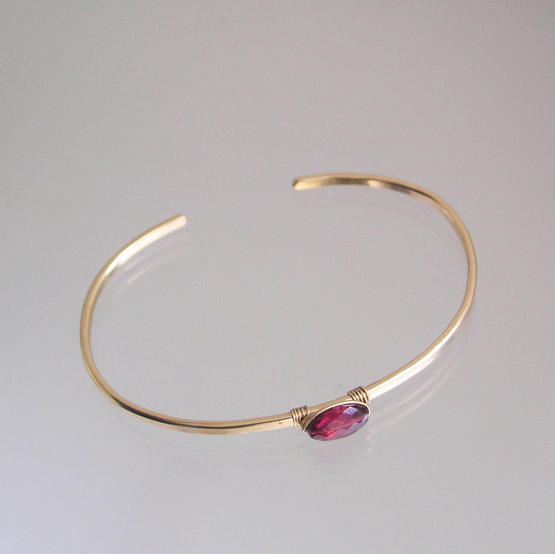 Rubellite Pink Tourmaline Minimalist and Modern Cuff Bracelet in 14k Gold Fill - product images  of
