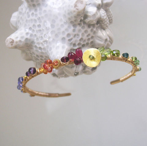 Multi,Gemstone,14k,Gold,Filled,Cuff,,Rainbow,Gem,Wire,Wrapped,Bracelet,with,Sapphires,,Peridot,,Garnet,,Tanzanite,,Apatite,,Peridot,Jewelry,Multi_Gemstone,Gold_Filled_Cuff,Rainbow_Gem,Rainbow_Bracelet,Sapphire_Jewelry,Peridot_Cuff,Garnet_Bracelet,Tanzanite_Cuff,Wire_Wrapped,Original_Design,Signature,Wire_Wrap_Bracelet,Bellajewels,14k gold filled wire,vermeil beads,gemstones,t