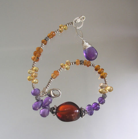 Purple,Gemstone,Layering,Beaded,Bracelet,with,Glossy,Spessartite,Pebble,,Golden,Sapphire,,Amethyst,Jewelry,Purple_Gemstone,Beaded_Bracelet,Golden_Sapphire,Layering_Bracelet,Rainbow_Wraps,Original_Design,Glossy_Spessartite,Spessartite_Pebble,Bellajewels,Bella_Jewels,Slender_Bracelet,Gemstone_Bracelet,matte silver beadalon,sterling comp