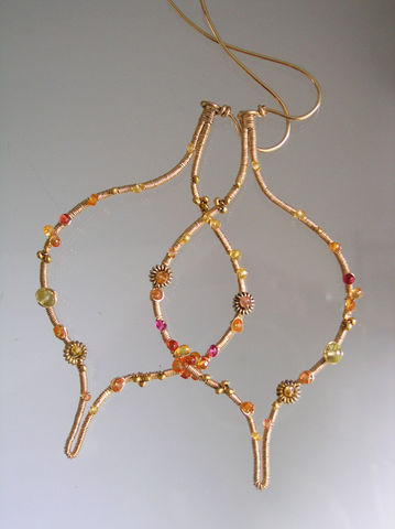 Sculptural,Orange,and,Gold,Sapphire,Hoops,in,14k,Fill,,Moroccan,Design,,Made,to,Order,Jewelry,Earrings,Moroccan_Earrings,Sapphire_Hoops,Fuchsia,Large_Gold_Hoops,Gemstone_Earrings,Original_Design,Sculptural_Earrings,Moorish_Tile,Bellajewels,Shapely_Gold_Hoops,Lightweight_Earrings,Dramatic_Earrings,Moorish_Earrings,gold filled wire,sapphire