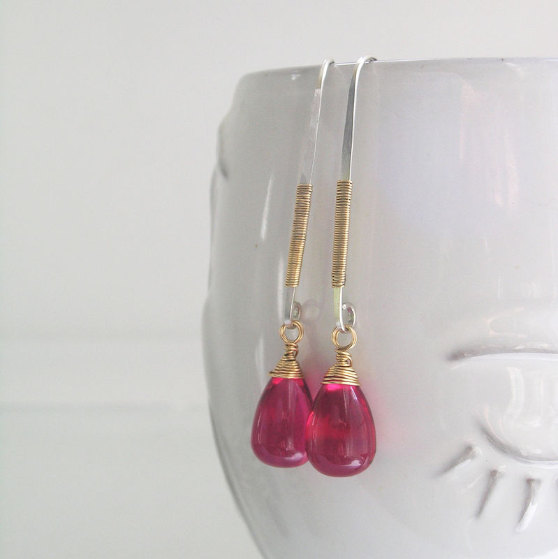 Modern Mixed Metal Linear Earrings, Wire Wrapped Dangles with Magenta Pink Glass Drops - product images  of
