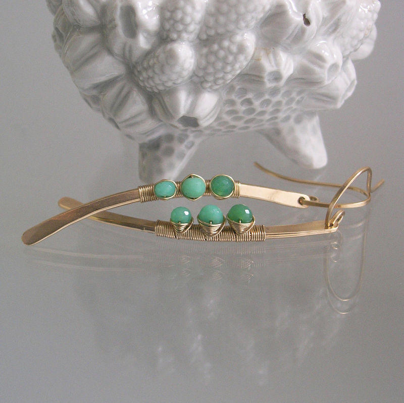 Chrysoprase Curved Linear Earrings, 14k Gold Filled Hand Wrought Stems, Wire Wrapped, Shaded Green, Modern and Minimalist - product images  of