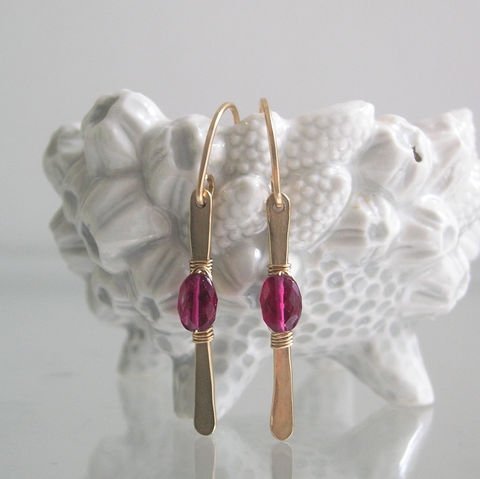 Modern,and,Minimalist,Rubellite,Tourmaline,Earrings,,14k,Gold,Filled,Linear,Dangles,,Magenta,Stems,,Lightweight,Everyday,Jewelry,Earrings,Rubellite_Tourmaline,Tourmaline_Earrings,14k_Gold_Filled,Linear_Dangles,Magenta_Stems,Minimalist_Earrings,Artisan_Jewelry,Original_Design,BellaJewels,Magenta_Gem_Dangles,Rubellite_Gold_Stems,14k gold filled wire,gemst