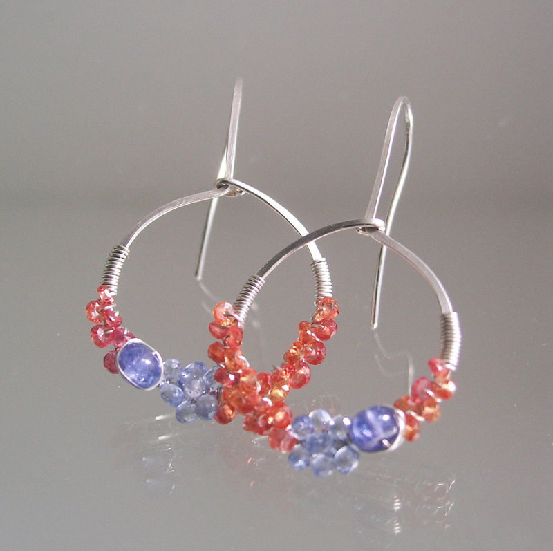 Blue and Orange Sapphire Sterling Silver Hoops, Tanzanite Wire Wrapped Earrings, Lightweight, Everyday Jewelry, Original Design, Signature - product images  of
