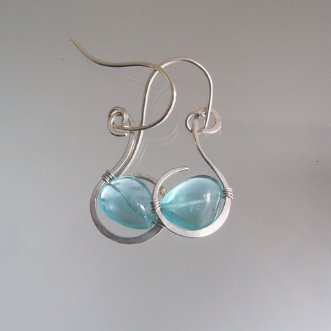 Glossy,Blue,Apatite,Sterling,Earrings,,Small,Wire,Wrapped,Curled,Hoops,Jewelry,Earrings,Blue_Apatite,Sterling_Earrings,Glossy_Turquoise,Silver_Dangles,Small_Wire_Wrapped,Curled_Hoops,Artisan_Made,Original_Design,Signature_Earrings,BellaJewels,Apatite_Earrings,Lightweight_Earrings,Apatite_Pebble,argentium sterling silver wire