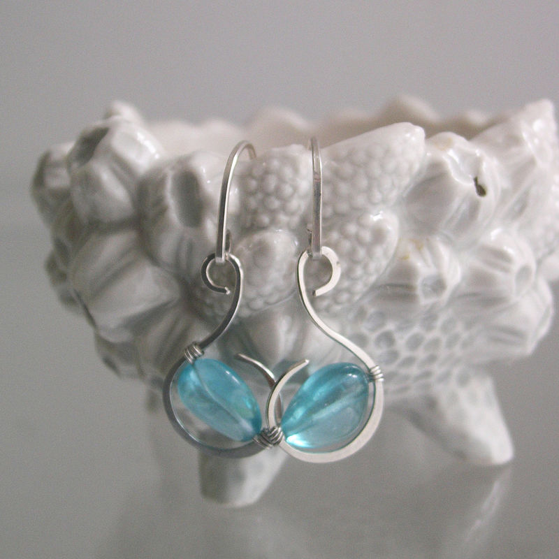 Glossy Blue Apatite Sterling Earrings, Small Wire Wrapped Curled Hoops - product images  of