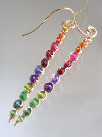 Rainbow,Gemstone,Gold,Filled,Linear,Earrings,,Prismatic,Stems,with,Sapphire,,Amethyst,,Tsavorite,,Ruby,,Spinel,,Bohemian,,Chakra,Jewelry,Earrings,rainbow_sticks,gemstone_gold_fill,linear_earrings,slender_prismatic,slender_earrings,prismatic_stems,sapphire_earrings,wire_wrapped_stems,original_design,bellajewels,bella_jewels,artist_made,handmade_in_USA,14k gold filled wire,gemstones