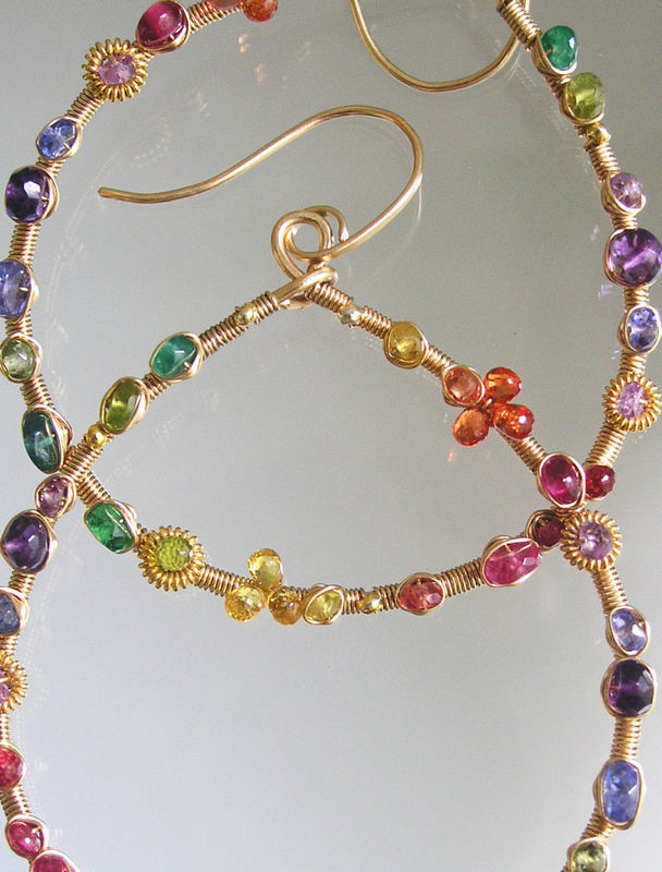 Gemstone Gold Filled Teardrop Hoops, Wire Wrapped Earrings, Artist Made, Colorful, Sapphire, Amethyst, Tanzanite, Original, Made to Order - product images  of