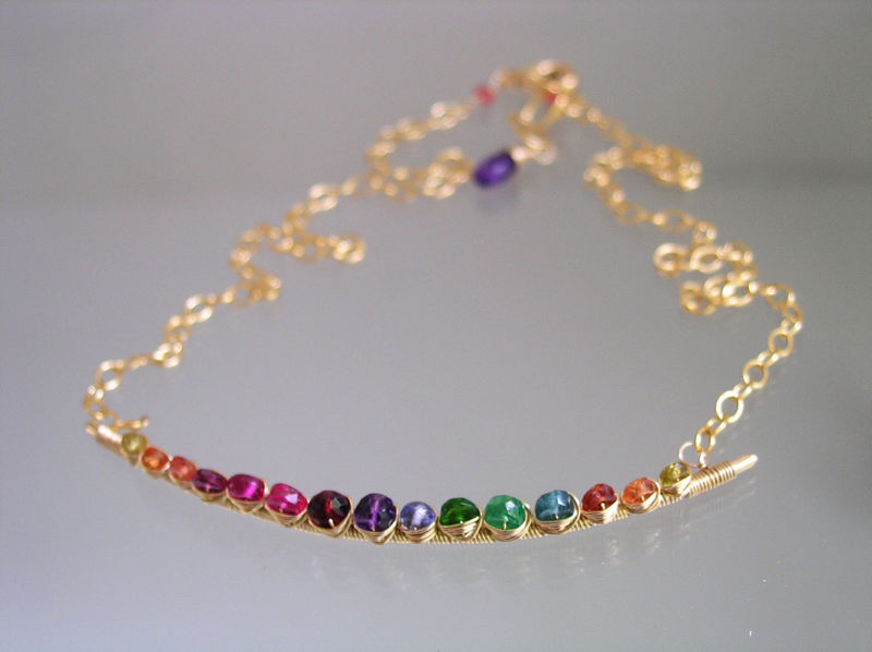 Rainbow Gemstone 14k Gold Filled Curved Bar Necklace, Choker with Sapphire, Tsavorite, Ruby, Amethyst, Tourmaline, Made to Order - product images  of