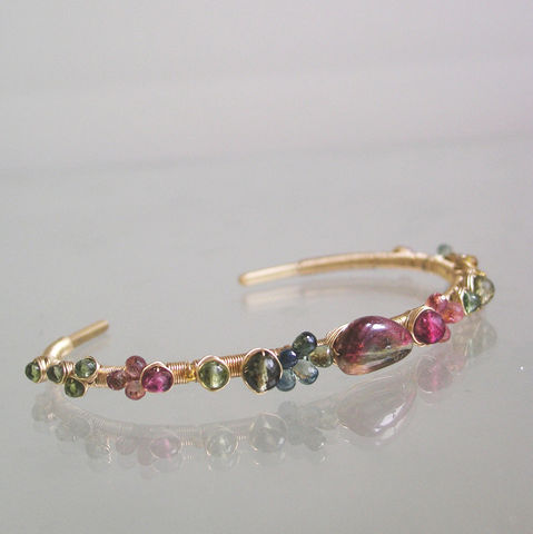 Pink,and,Green,Tourmaline,14k,Gold,Filled,Cuff,,Wire,Wrapped,Hand,Wrought,Bracelet,,Stackable,Gemstone,Original,Design,,Signature,Pink and Green Tourmaline 14k Gold Filled Cuff, Wire Wrapped Hand Wrought Bracelet, Stackable Gemstone Cuff, Original Design, Signature, Bellajewels, Bella Jewels, tourmaline cuff, gold filled gemstone cuff, stackable tourmaline bracelet, trendsetting des