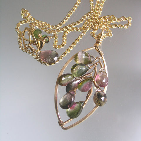 Watermelon,Tourmaline,14k,Gold,Filled,Leaf,Pendant,,Wire,Wrapped,Gemstone,Necklace,,Deep,Green,and,Pink,,Artisan,Made,,Original,Design,Jewelry,Necklace,14k gold filled wire,watermelon tourmaline,14k gold filled lobster