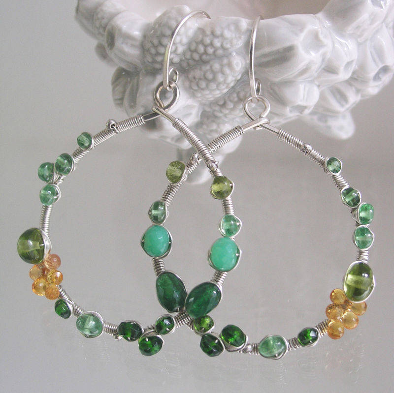 Multi Green Gemstone Silver Hoops, Sterling Wire Wrapped Earrings with Chrysoprase, Diopside, Sapphire, Peridot - product images  of