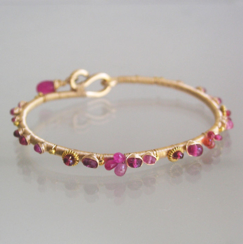Pink Ruby Bangle, 14k Gold Filled Sapphire Bracelet with Ruby, Tourmaline and Sapphire - product images  of
