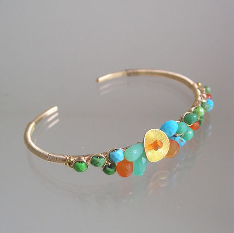 Opaque,Gemstone,14k,Gold,Filled,Cuff,,Wire,Wrapped,Bracelet,with,Carnelian,,Chyrsoprase,and,Green,Blue,Turquoise,Opaque Gemstone 14k Gold Filled Cuff, Wire Wrapped Bracelet with Carnelian, Chyrsoprase Cuff, Green and Blue Turquoise Cuff