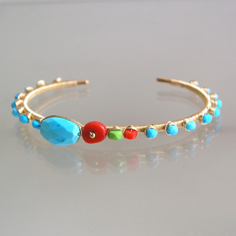 Turquoise Gold Filled Cuff, Wire Wrapped Coral , Stackable Bracelet with Studded Gemstones, Stackable - product images  of