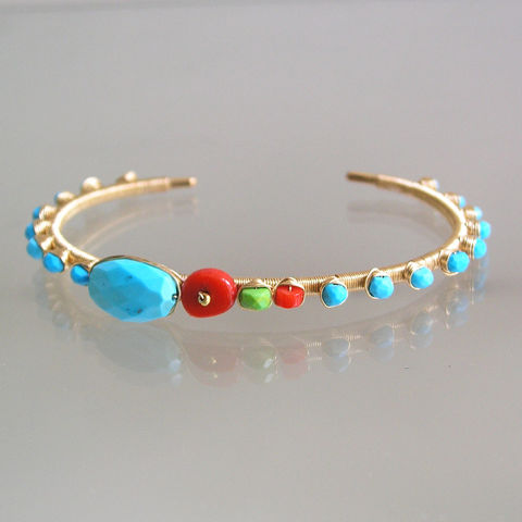 Turquoise,Gold,Filled,Cuff,,Wire,Wrapped,Coral,,,Stackable,Bracelet,with,Studded,Gemstones,,Turquoise Gold Filled Cuff, Wire Wrapped Coral , Stackable Bracelet, Studded Gemstone Cuff, Artist Made, Handmade Cuff, Original Design, Signature Cuff
