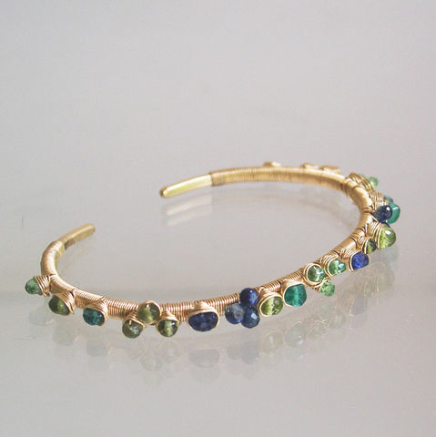 Multi,Gemstone,Gold,Filled,Cuff,,Wire,Wrapped,Hand,Wrought,Bracelet,with,Emerald,,Tsavorite,,Sapphire,,Kyanite,,Small,Sized,Multi Gemstone Gold Filled Cuff, Wire Wrapped Hand Wrought Bracelet, Emerald Cuff, Tsavorite Cuff, Sapphire Cuff, Original Design, Small Sized Cuff
