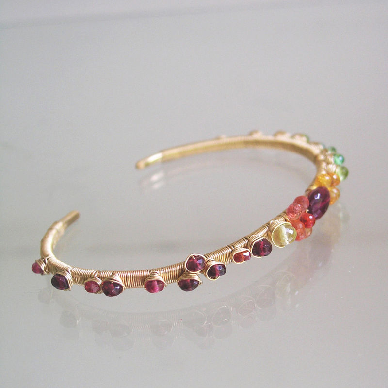 Tourmaline Sapphire Gold Filled Cuff, Wire Wrapped Stackable Colorful Bracelet with Sapphires, Garnet, Peridot, Emerald  - product images  of