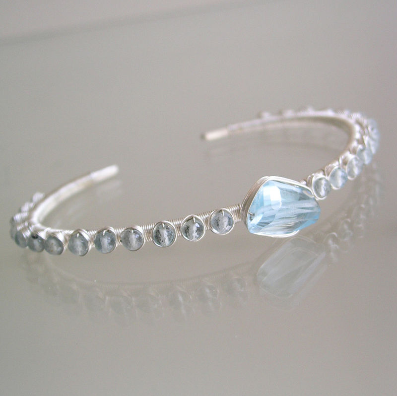 Aquamarine and Blue Topaz Sterling Cuff, Soft Blue Gemstone Stackable Bracelet  - product images  of