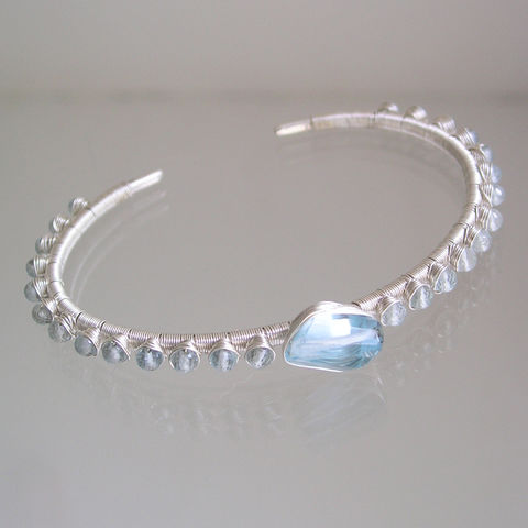 Aquamarine,and,Blue,Topaz,Sterling,Cuff,,Soft,Gemstone,Stackable,Bracelet,aquamarine cuff, blue topaz sterling cuff, topaz cuff, stackable cuff, blue gemstone bracelet