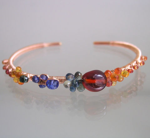 Multi,Gemstone,14k,Rose,Gold,Filled,Cuff,,Wire,Wrapped,Bracelet,with,Spessartite,,Tanzanite,,Sapphire,Multi Gemstone 14k Rose Gold Filled Cuff, Wire Wrapped Bracelet with Spessartite, Tanzanite, Sapphire