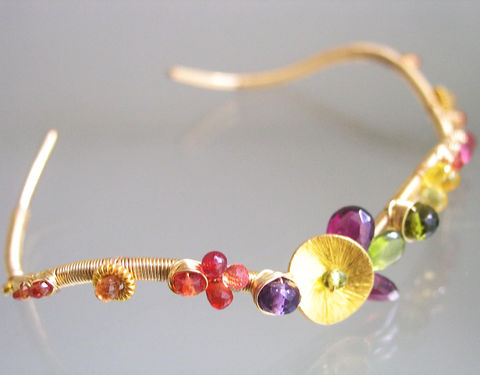 Multi,Gemstone,14k,Gold,Filled,Cuff,,Stackable,Wavy,Bracelet,with,Sapphire,,Garnet,,Vesuvianite,,Amethyst,Multi Gemstone 14k Gold Filled Cuff, Stackable Wavy Bracelet with Sapphire, Vesuvianite, Amethyst, Bella Jewels, Bellajewels, trendsetting jewelry designer, drama jewels, original design, signature cuff, handmade in the USA, handmade jewelry