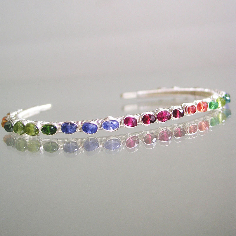 Rainbow Gemstone Sterling Silver Cuff, Stackable Wire Wrapped Bracelet with Sapphire, Tourmaline, Apatite, Peridot, Tanzanite, Tourmaline - product images  of