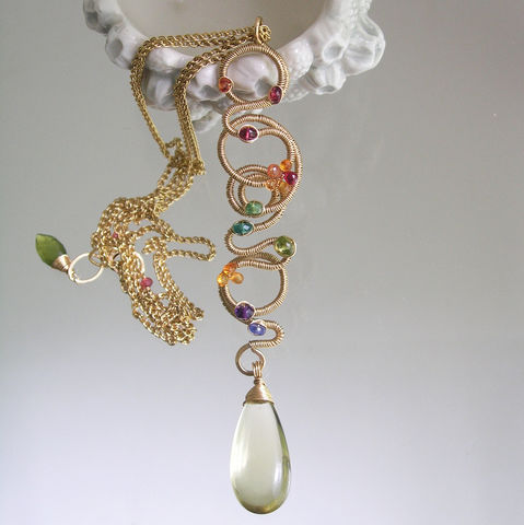 Linear,14k,Gold,Filled,Scribble,Pendant,,Multi,Gemstone,Necklace,with,Emerald,,Sapphire,,Amethyst,,Tanzanite,,Spinel,,Lemon,Quartz,Dangle,Linear 14k Gold Filled Scribble Pendant, Multi Gemstone Necklace with Emerald, Sapphire, Amethyst, Tanzanite, Spinel, Lemon Quartz Dangle