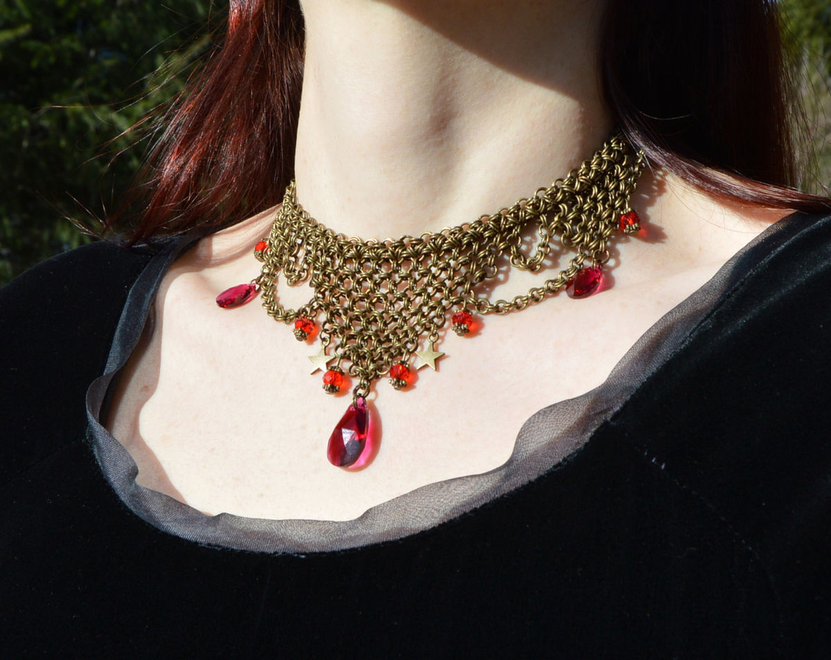... Gothic red crystal necklace - chainmail medieval costume jewelry - chainmaille choker with ruby red Swarovski ... & Gothic red crystal necklace - chainmail medieval costume jewelry ...