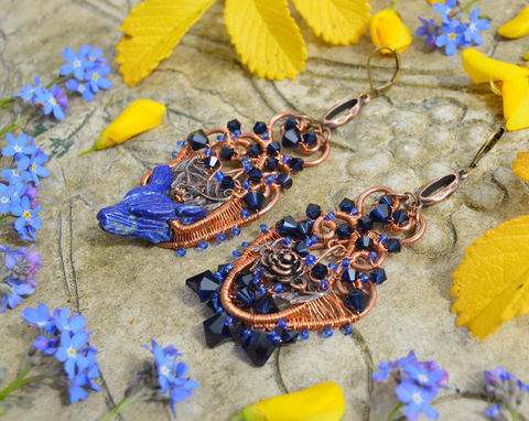 Blue,crystal,wolf,earrings,-,boho,wire,wrap,jewelry,in,copper,and,lapis,lazuli,asymmetrical,mismatched,Jewelry,Earrings,wolf_jewelry,witchy,wolf_earrings,boho_earrings,mismatched_earrings,asymmetrical)earrings,wire_wrap_earrings,wire_wrap_jewelry,dark_mori,lapis_lazuli_earrings,gypsy_rose,wire_wrapped_crystal_earrings,boho_jewelry,bohemian_earrings,baroque