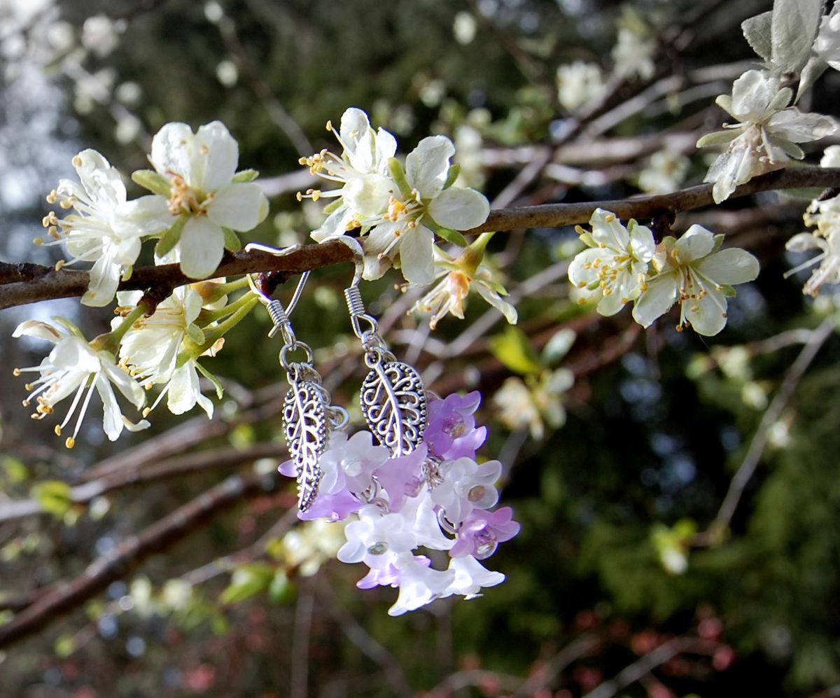 White Lavender Flower Earrings Woodland Faerie Jewelry Purple