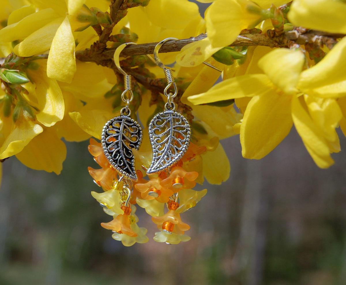 Orange And Yellow Flower Earrings Flower Girl Spring Flower