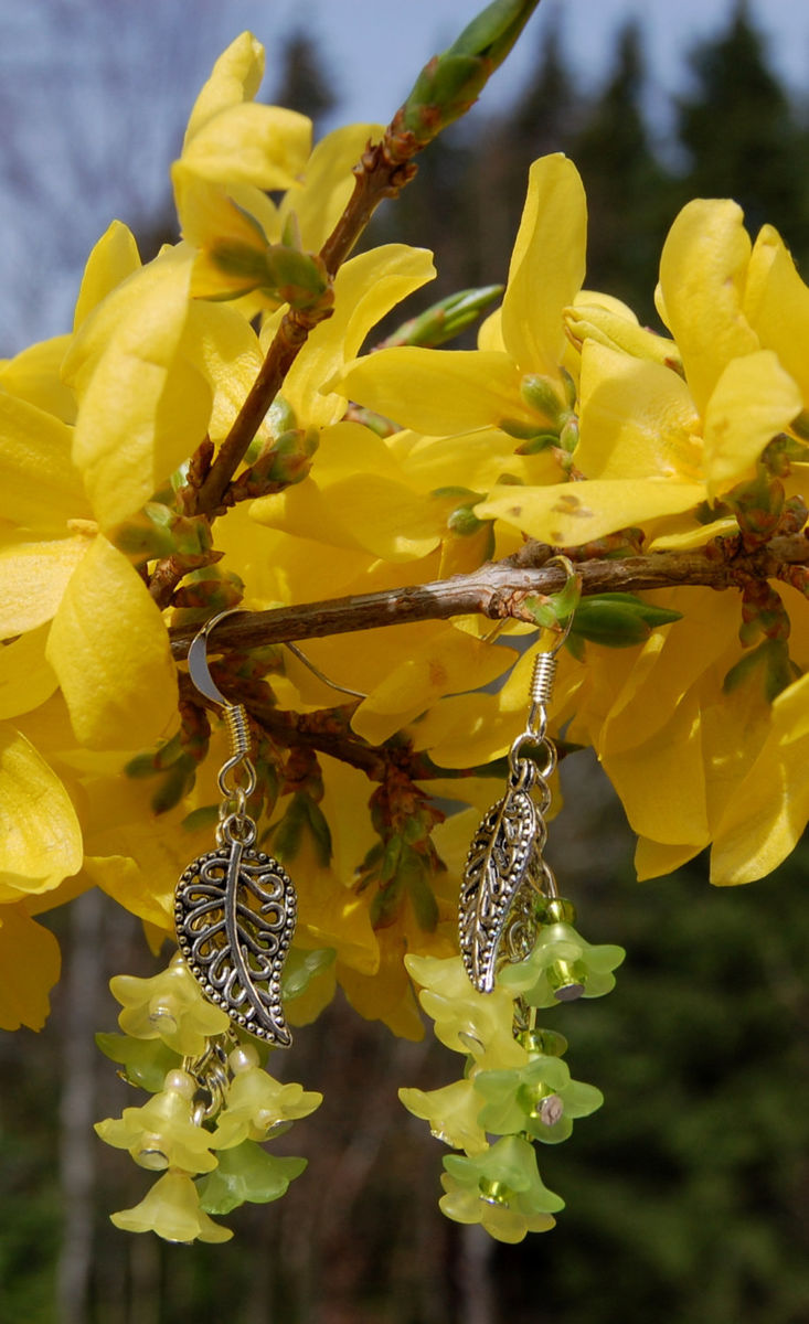 Lemon And Lime Earrings With Yellow And Green Flowers Woodland